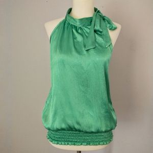 Silky Sleeveless Top Shirt Blouse Pussy Bow Ruched